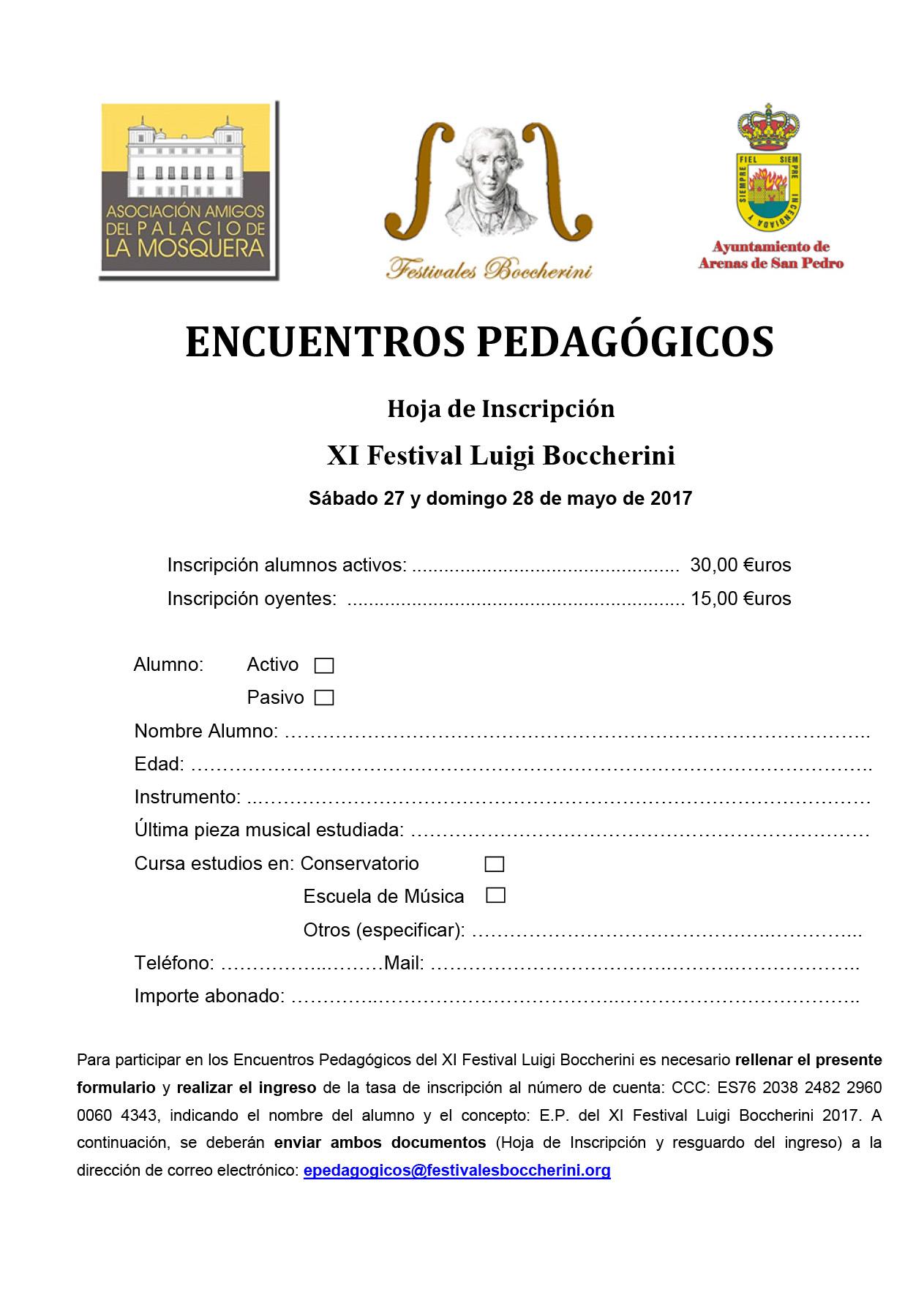 Hoja de Inscripción a los Encuentros Pedagógicos 2017