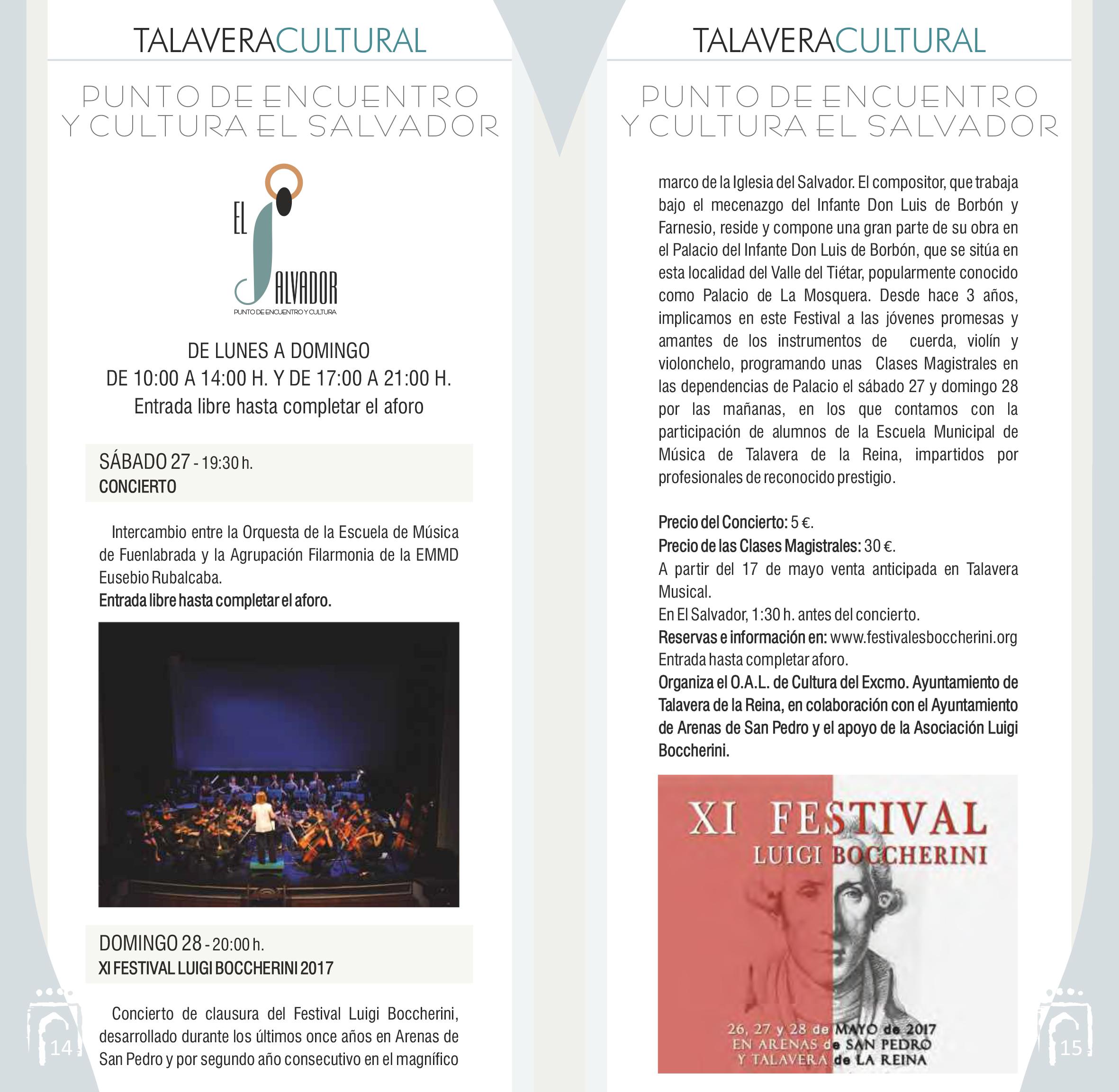 Programación Talavera Cultural 2017 con el concierto de los Festivales Boccherini 2017