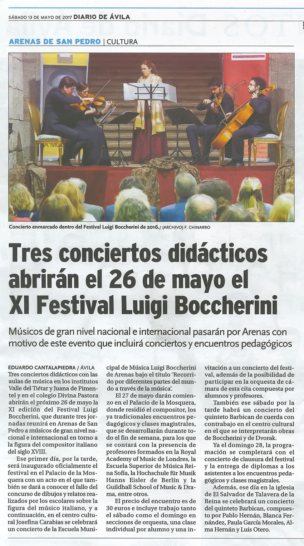 2017-05-13 Noticia Diario Avila XI Festival Boccherini