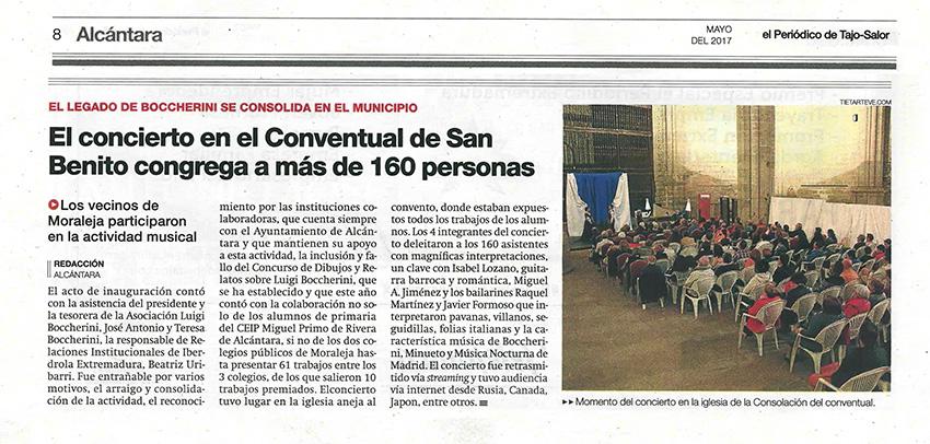 Noticia de El Periódico de Tajo-Salor sobre la V Actividad Musical Alcántara con Boccherini