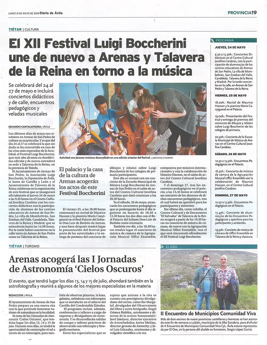 Noticia en Diario de Ávila - XII Festival Boccherini 2018 Arenas de San Pedro y Talavera de La Reina