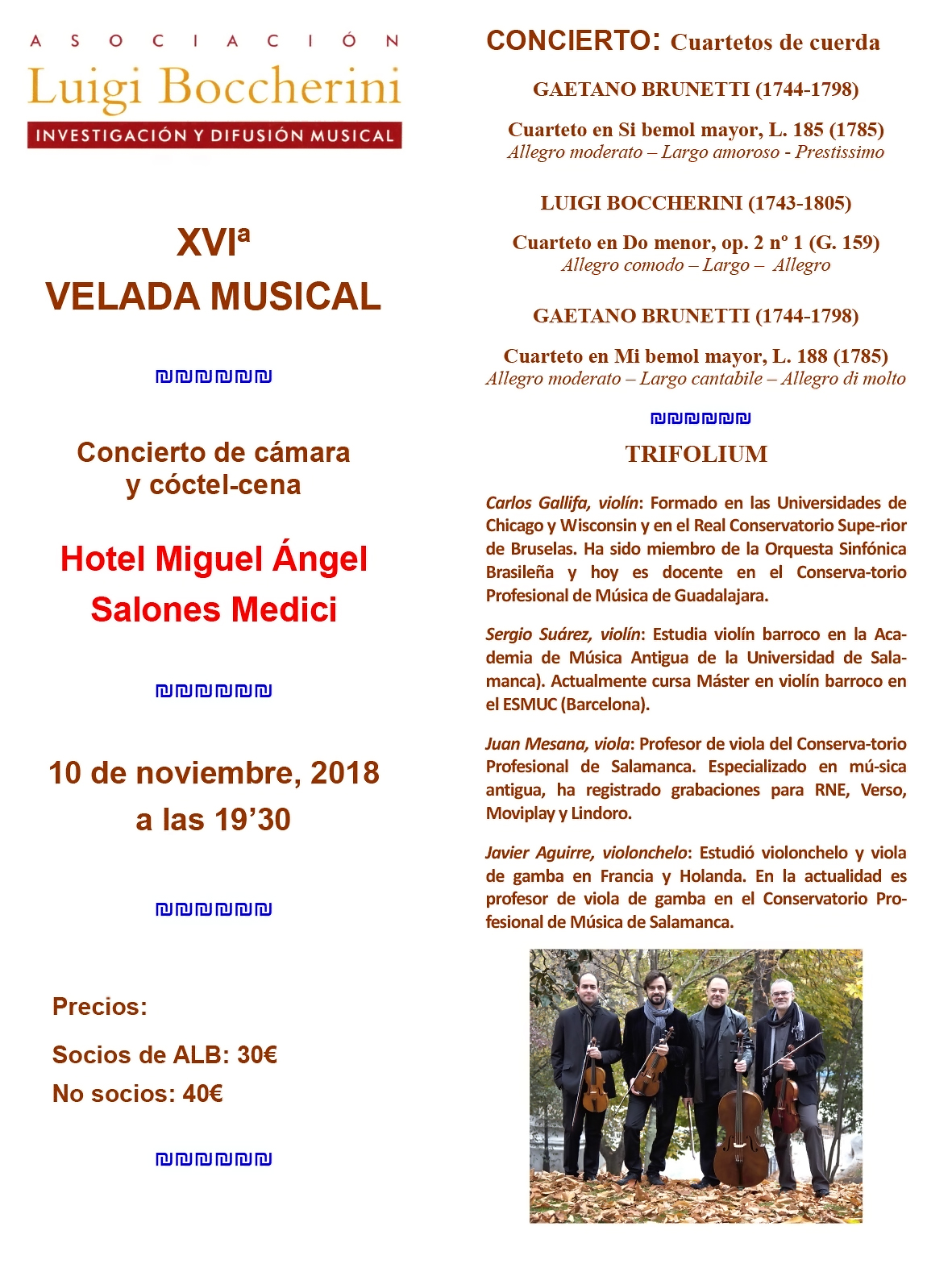 Velada Musical Madrid ALB - Festivales Boccherini