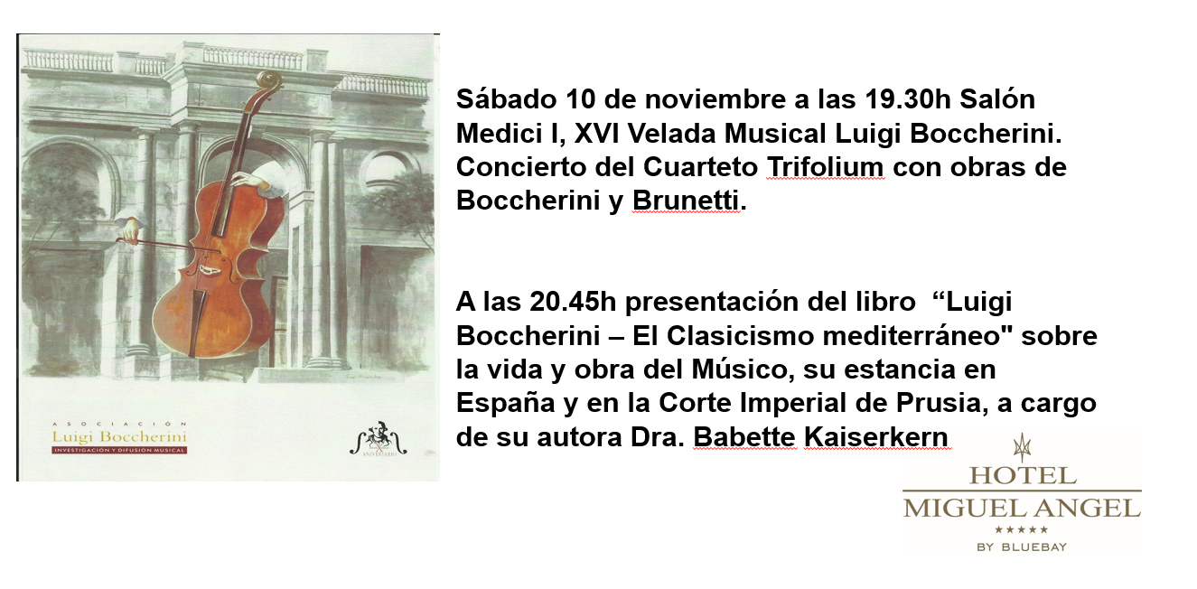 Invitación Velada Musical Luigi Boccherini - Festivales Boccherini