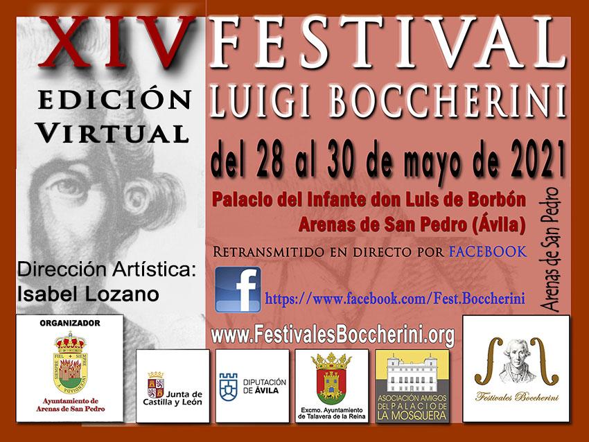 Cartel XIV Festivales Boccherini Edición Virtual 2021 - Arenas de San Pedro
